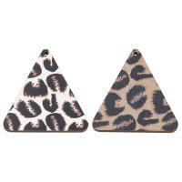 Holz Ohranhänger Zubehör, Dreieck, Kunstdruck, keine, 48x50x4mm, Bohrung:ca. 2mm, ca. 1000PCs/Tasche, verkauft von Tasche