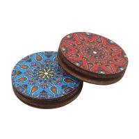 Holz Ohranhänger Zubehör, flache Runde, Kunstdruck, verschiedene Muster für Wahl, keine, 20x4mm, ca. 1000PCs/Tasche, verkauft von Tasche