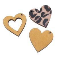 Holz Anhänger, Herz, Kunstdruck, verschiedene Stile für Wahl, keine, 37x37x4mm, Bohrung:ca. 2mm, ca. 1000PCs/Tasche, verkauft von Tasche