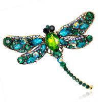 Zinklegierung Broschen, Libelle, plattiert, für Frau & mit Strass, keine, frei von Nickel, Blei & Kadmium, 75*91mm, verkauft von PC