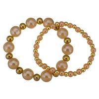 Edelstahl Ehepaar Armband, mit Kristall, goldfarben plattiert, 6mm,4x5mm,12mm,7x8mm, Länge:ca. 7 ZollInch, 2SträngeStrang/Menge, verkauft von Menge