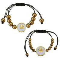 Edelstahl Ehepaar Armband, mit Baumwolle Schnur & Weiße Muschel, goldfarben plattiert, unisex, 16mm,4x5mm,16mm,7x8mm, Länge:ca. 4-9 ZollInch, ca. 2SträngeStrang/Menge, verkauft von Menge