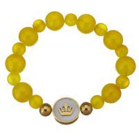 Edelstahl Armband, mit Weiße Muschel & Natürlicher Quarz, unisex, gelb, 16mm,12mm, verkauft per ca. 7 ZollInch Strang