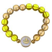 Edelstahl Armband, mit Natürlicher Quarz, goldfarben plattiert, unisex, gelb, 16mm,10mm, verkauft per ca. 7 ZollInch Strang