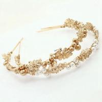 Haarreif, Zinklegierung, mit ABS-Kunststoff-Perlen, goldfarben plattiert, für Frau, keine, frei von Nickel, Blei & Kadmium, 135mm, verkauft von PC