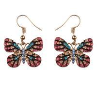 Zinklegierung Ohrringe, Schmetterling, goldfarben plattiert, für Frau & mit Strass, frei von Nickel, Blei & Kadmium, 35*25mm, verkauft von Paar