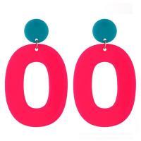 Harz Tropfen Ohrring, Zinklegierung Stecker, Buchstabe O, plattiert, für Frau & fluoreszierende, keine, 70x40mm, verkauft von Paar