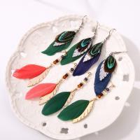 Feder Tropfen Ohrring, mit Messing, verschiedene Stile für Wahl & für Frau & mit Strass, keine, verkauft von Paar
