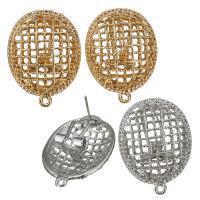Zinklegierung Ohrring-Bolzen -Komponente, plattiert, mit Schleife, keine, frei von Nickel, Blei & Kadmium, 22x28x18mm, Bohrung:ca. 1.5mm, ca. 10PaarePärchen/Menge, verkauft von Menge