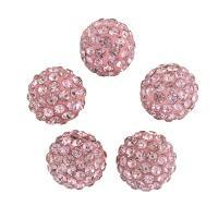 Strass Ton befestigte Perlen, Lehm pflastern, mit Strass, Rosa, 10x10mm, Bohrung:ca. 1mm, 100PCs/Tasche, verkauft von Tasche