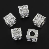 Strass Zinklegierung Perlen, Platinfarbe platiniert, mit Strass, frei von Nickel, Blei & Kadmium, 9x9x8mm, Bohrung:ca. 4mm, 10PCs/Tasche, verkauft von Tasche