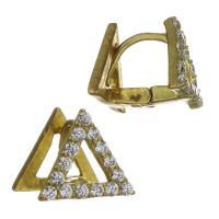 Messing Leverback Ohrring, Dreieck, goldfarben plattiert, Micro pave Zirkonia, frei von Nickel, Blei & Kadmium, 10x9x10mm, ca. 50PaarePärchen/Menge, verkauft von Menge
