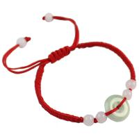 Jadeit Woven Ball Armband, mit Nylonschnur, unisex, rot, verkauft per ca. 5.7-8.6 ZollInch Strang
