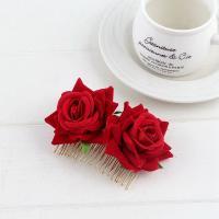 Dekoratives Haarkämmchen, Baumwollsamt, mit Eisen, Blume, für Frau, keine, 110mm, verkauft von PC