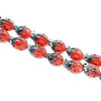 Holprige Lampwork Perlen, Marienkäfer, uneben, rot, 11x16x6mm, Bohrung:ca. 1mm, ca. 100PCs/Tasche, verkauft von Tasche