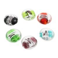 Silberfolie Lampwork Perlen, flache Runde, 20x10mm, Bohrung:ca. 1mm, ca. 100PCs/Tasche, verkauft von Tasche