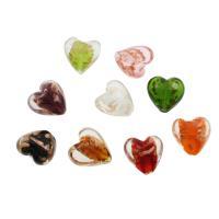 Goldsand Lampwork Perlen, flacher Herz, 20x20x12mm, Bohrung:ca. 1mm, ca. 100PCs/Tasche, verkauft von Tasche