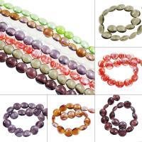 Silberfolie Lampwork Perlen, flache Runde, verschiedene Größen vorhanden, keine, 21x10mm, Bohrung:ca. 2mm, ca. 100PCs/Tasche, verkauft von Tasche