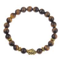 Natürliche Tiger Eye Armband, Tigerauge, mit Zinklegierung, rund, buddhistischer Schmuck & für den Menschen, 8mm, verkauft per 7..5 ZollInch Strang