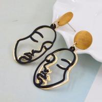 Holz Tropfen Ohrring, mit Eisen, plattiert, für Frau, keine, 26.20x60mm, verkauft von Paar