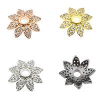 Messing Perlenkappe, Blume, plattiert, mit Strass, keine, frei von Nickel, Blei & Kadmium, 14x13x4mm, verkauft von PC