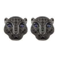 Strass Messing Perlen, Leopard, mit Strass, frei von Nickel, Blei & Kadmium, 13x12x8mm, verkauft von PC