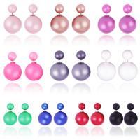Zinklegierung Doppelseitigen Ohrstecker, mit ABS-Kunststoff-Perlen, Platinfarbe platiniert, Koreanischen Stil & für Frau, keine, 16x8mm, 5PaarePärchen/Menge, verkauft von Menge