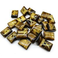 Tigerauge Dekoration, Quadrat, geschnitzt, gemischtes Muster, 15x20mm, 25PCs/Menge, verkauft von Menge