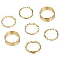 Zink-Legierungsring-Set, Zinklegierung, goldfarben plattiert, unisex, frei von Nickel, Blei & Kadmium, 19mm,20mm, 7SträngeStrang/setzen, verkauft von setzen