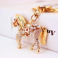 Zinklegierung Schlüsselanhänger, mit Tschechisch, Pferd, goldfarben plattiert, unisex, frei von Nickel, Blei & Kadmium, 36x55mm, verkauft von PC