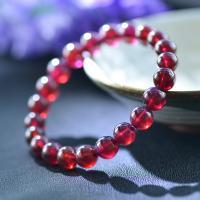 Natürlicher Granat -Armband, rund, plattiert, unisex & verschiedene Größen vorhanden, violett, verkauft von Strang