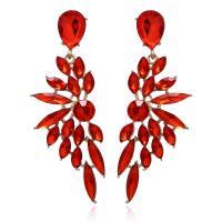Kristall Tropfen Ohrring, mit Zinklegierung, plattiert, für Frau, mehrere Farben vorhanden, 70x22mm, verkauft von Paar