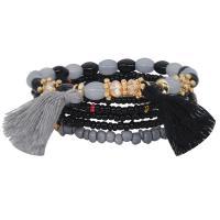 Zinklegierung kombiniertes Armband, mit Baumwollfaden & Seedbead & Harz, plattiert, für Frau, keine, frei von Nickel, Blei & Kadmium, 25mm, Länge:ca. 7 ZollInch, 2SträngeStrang/Menge, verkauft von Menge