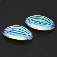 KRISTALLanhänger, Kristall, Blatt, bunte Farbe plattiert, 21x21x3mm, 100PCs/Menge, verkauft von Menge