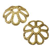 Edelstahl Perle Kappe, Blume, Hohe Qualität überzogen und verblassen nie, Goldfarbe, frei von Nickel, Blei & Kadmium, 8x3mm, Bohrung:ca. 1mm, ca. 1500PCs/Menge, verkauft von Menge