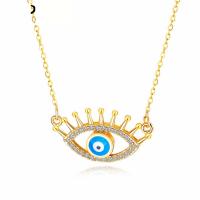 Messing Halskette, blöser Blick, Micro pave Zirkonia & für Frau & hohl, goldfarben, frei von Nickel, Blei & Kadmium, 28x16mm, Länge:ca. 18 ZollInch, verkauft von PC