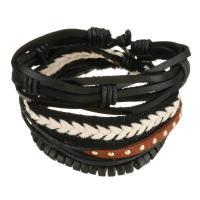Leder Armband-Set, mit Gewachsten Baumwollkordel & Holz, unisex, 7-18mm, Länge:ca. 7-10 ZollInch, verkauft von setzen