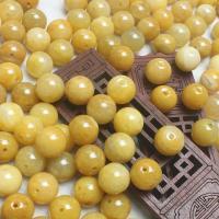 Jadeit Perlen, rund, natürlich, poliert & DIY, gelb, 12.5-13mm, 220/Menge, verkauft von Menge