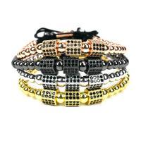 Messing Woven Ball Armbänder, mit Nylonschnur, plattiert, einstellbar & Micro pave Zirkonia & für Frau, keine, frei von Nickel, Blei & Kadmium, verkauft per ca. 7.5 ZollInch Strang