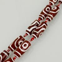 Achat Perlen, Henna Rot, 30x12x12mm, Bohrung:ca. 2.5mm, Länge:ca. 15 ZollInch, ca. 5PCs/Menge, verkauft von Menge