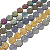 Flache runde Kristall Perlen, bunte Farbe plattiert, mehrere Farben vorhanden, 14x5mm, Bohrung:ca. 1mm, 50PCs/Strang, verkauft per ca. 26.77 ZollInch Strang