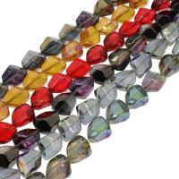 Kristall-Perlen, Kristall, bunte Farbe plattiert, mehrere Farben vorhanden, 13x16x10mm, Bohrung:ca. 1mm, 40PCs/Strang, verkauft per ca. 23.62 ZollInch Strang