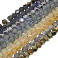 Kristall-Perlen, Kristall, bunte Farbe plattiert, verschiedene Größen vorhanden & satiniert, mehrere Farben vorhanden, 72PCs/Strang, verkauft per ca. 22.04-23.62 ZollInch Strang