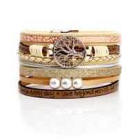 Zinklegierung Armband, mit ABS-Kunststoff-Perlen & PU Leder, plattiert, unisex, keine, frei von Nickel, Blei & Kadmium, 35x3mm, verkauft per ca. 7.49 ZollInch Strang