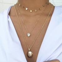 Zinklegierung Halskette, mit kubischer Zirkonia, goldfarben plattiert, Oval-Kette & für Frau, frei von Nickel, Blei & Kadmium, 17mm, verkauft per ca. 23.6 ZollInch Strang