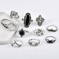 Zink-Legierungsring-Set, Zinklegierung, plattiert, Bohemian-Stil & für Frau, Silberfarbe, frei von Nickel, Blei & Kadmium, Größe:5.5-7, verkauft von setzen