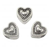 Zinklegierung Herz Perlen, antik silberfarben plattiert, frei von Nickel, Blei & Kadmium, 11x11x8mm, Bohrung:ca. 4mm, 2Taschen/Menge, ca. 166PCs/Tasche, verkauft von Menge