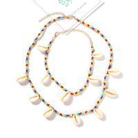 Seedbead Halskette, mit Muschel, plattiert, für Frau, farbenfroh, verkauft per ca. 29.5 ZollInch Strang
