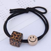 Pferdeschwanz-Halter, Gummiband, mit Acryl, plattiert, für Frau, keine, 11mm,leopard13mm, verkauft von PC
