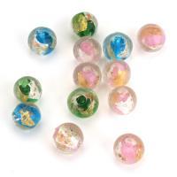 Silberfolie Lampwork Perlen, rund, gemischte Farben, 12x11x12mm, Bohrung:ca. 1.5mm, ca. 50PCs/Menge, verkauft von Menge